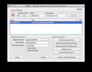 Adding shared folder to SMBUp