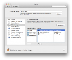 Setting sharing permissions from the System Preferences Sharing pane