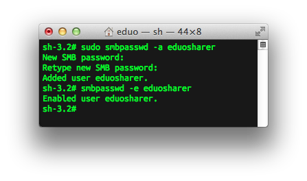 running smbpasswd in the terminal